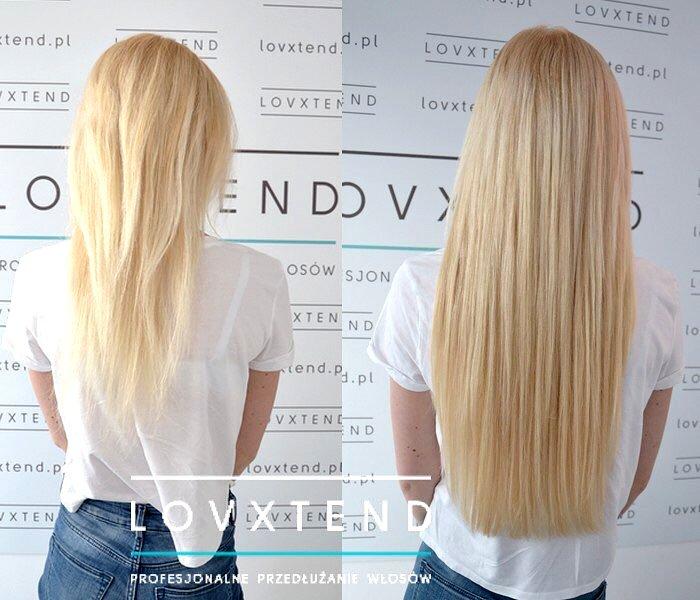 Przedłużanie włosów Lublin - Lovxtend. Kobieta eksponująca włosy przed i po zabiegu przedłużania i zagęszczenia włosów. Blondynka.